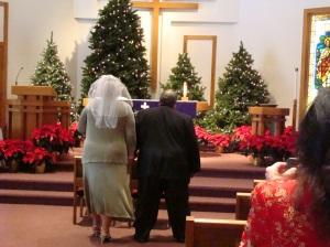 going to meet her groom
