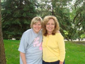 Debb on left with cousin Mary, shortly after my cancer surgery.  The bulges under my shirt are from the drains that I lived with for 2 weeks...