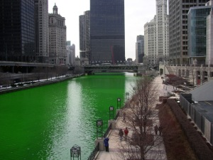the Chicago River, which almost couldn't be dyed this year because of remaining ice!